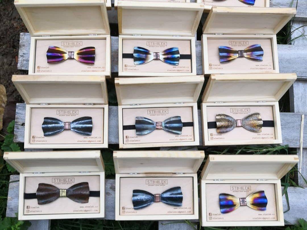Steelek - ručně kovaný designový motýlky pro muže, na svatbu, na ples, do společnosti - originální dárek pro muže